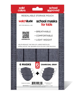 "Kids School Masks (6-pack) ""Charcoal Gray"" design - Solid Color - School Approved"