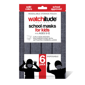 "Kids School Masks (36-pack) ""Charcoal Gray"" design - Solid Color - School Approved"