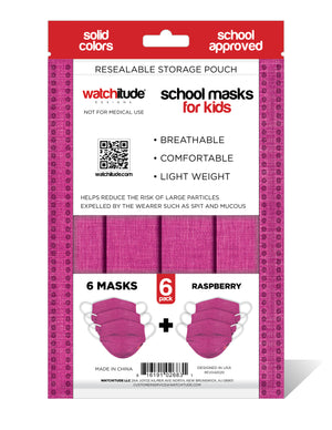 "Kids School Masks (36-pack) ""Raspberry"" design - Solid Color - School Approved"