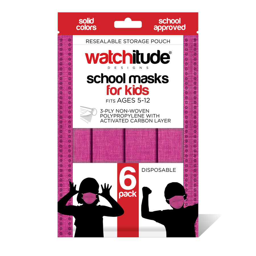 "Kids School Masks (6-pack) ""Raspberry"" design - Solid Color - School Approved"