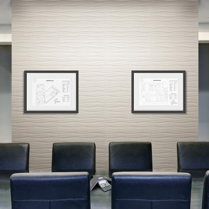 American Olean Visual Impressions Wall Tile - Multi Wave - Room Scene