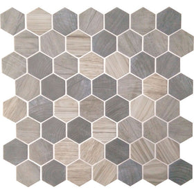 American Olean - Crosswood 1.5 in. Glass Hexagon Mosaic - Pelican
