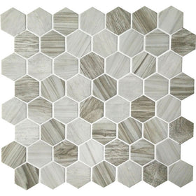 American Olean - Crosswood 1.5 in. Glass Hexagon Mosaic - Seagull