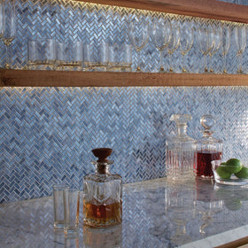 American Olean - Novelty Herringbone Glass Mosaic - Lapis NV95 Installed
