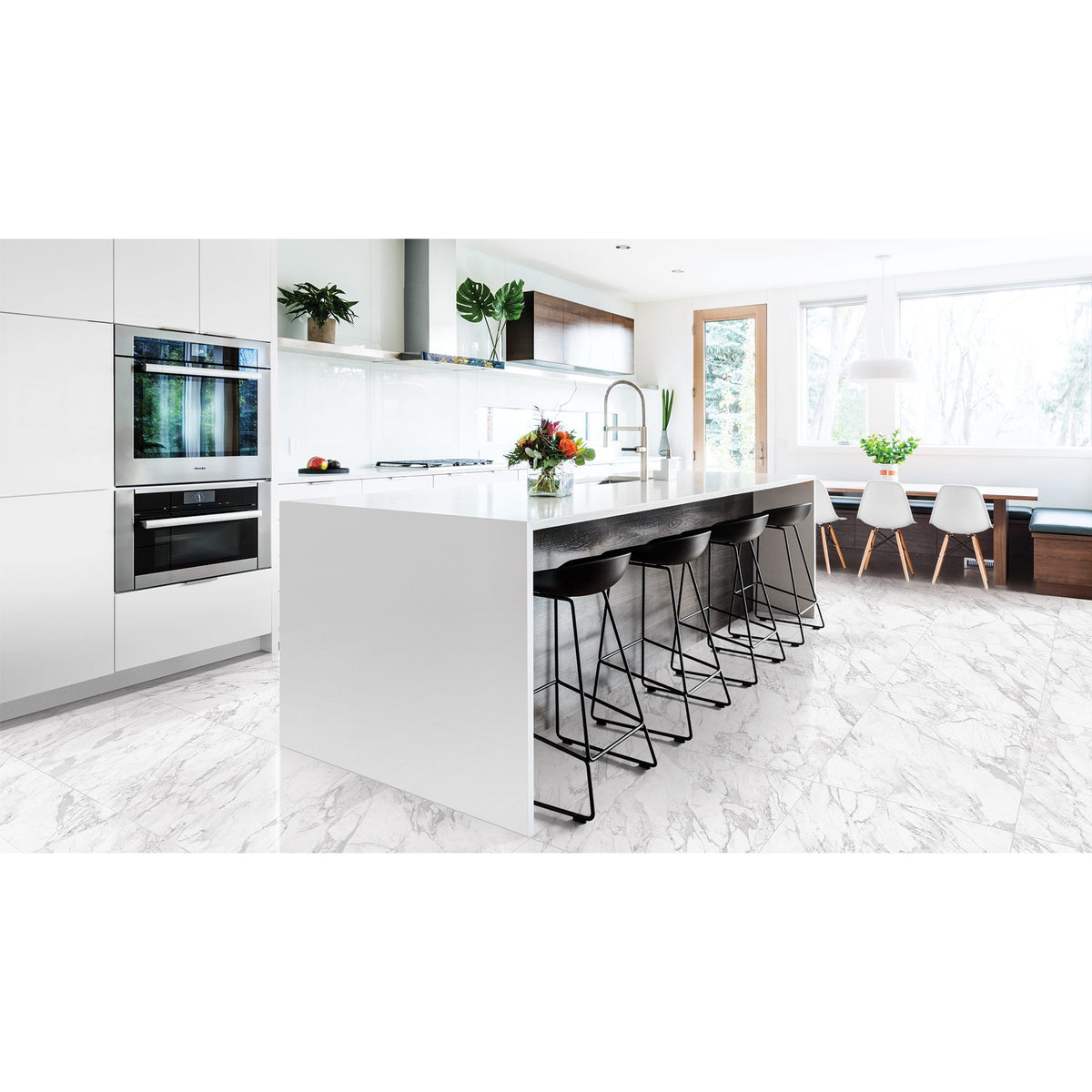 Anatolia - La Marca Glazed Porcelain 24 in. x 48 in. Polished Tile - Statuarietto Installed