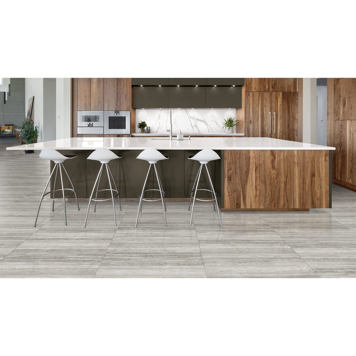 Anatolia - La Marca Glazed Porcelain 24 in. x 48 in. Polished Tile - Travertino Instrata Installed