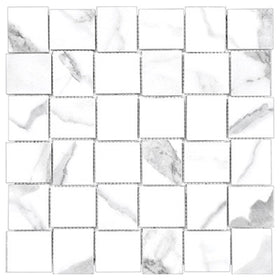 Anatolia Mayfair 2 in. x 2 in. HD Porcelain Basketweave Mosaics - Statuario Venato (Matte)