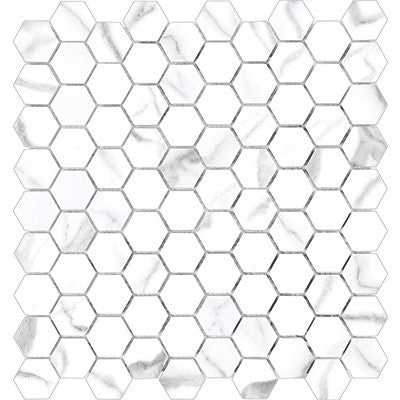Anatolia Mayfair 1.25 in. x 1.25 in. HD Porcelain Hexagon Mosaics Statuario (Polished)