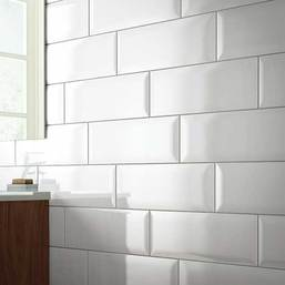 Daltile Annapolis Glazed Ceramic 6 in. x 16 in. Gloss Bevel Mosaic - Sand