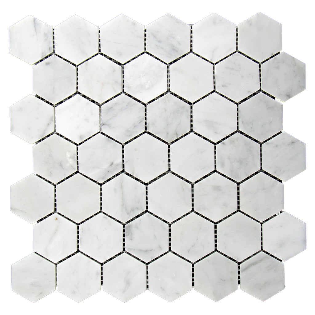 "DW Tile & Stone - 2"" Hexagon Bianco Gioia Marble Mosaic Tile - Polished"