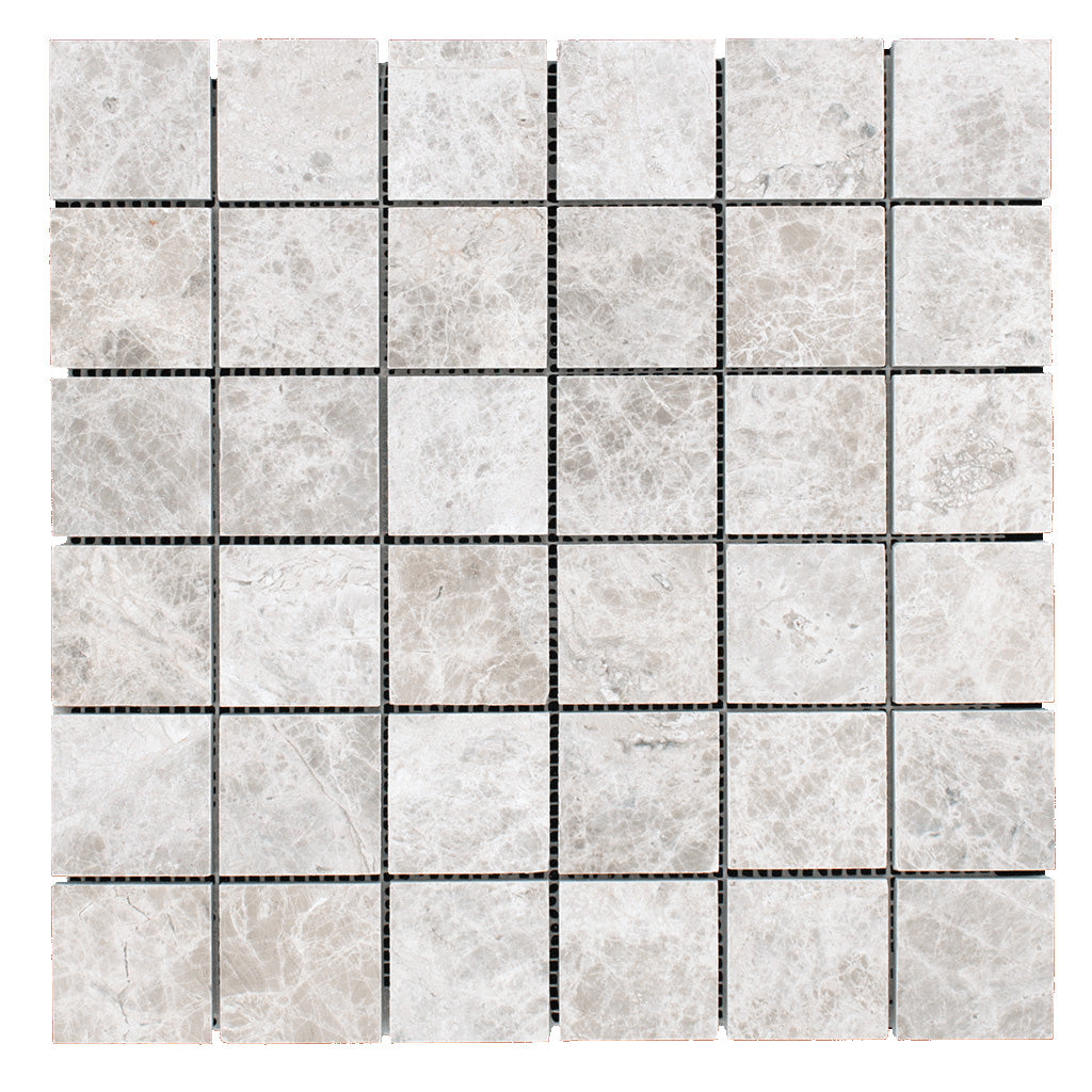 "DW Tile & Stone - Silver Shadow 2"" x 2"" Marble Mosaic - Honed"