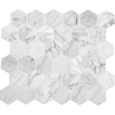 Daltile - Carrara White 2 in. Hexagon Mosaic - Polished