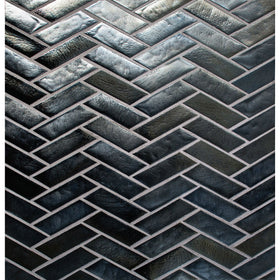 Daltile - Illuminary Herringbone Glass Mosaic - Pewter IL06
