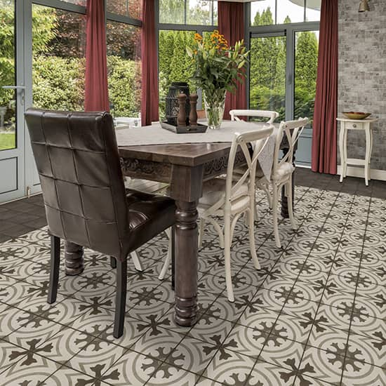 Daltile Quartetto - 8 in. x 8 in. Glazed Porcelain Tile - Cool Circolo Room  Scene
