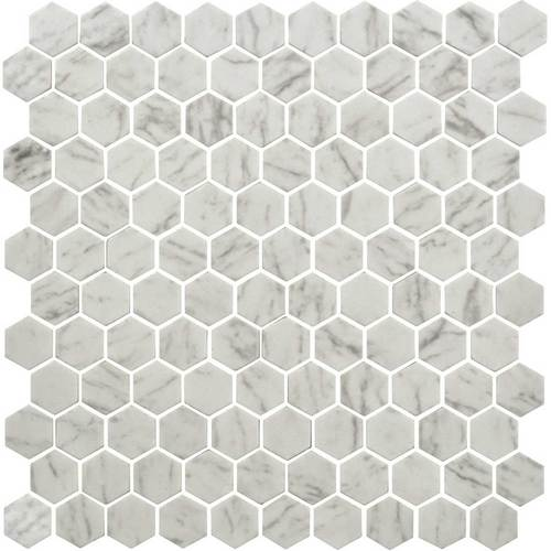 Daltile Uptown Glass 1 in. x 1 in. Hex Glass Mosaic - Carrara