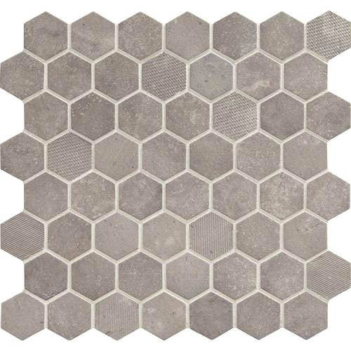 Daltile Vintage Hex 1 189 In Hexagon Mosaic Artifact Gray