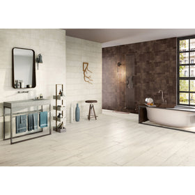 Emser Tile - Agenda 17 in. x 47 in. Glazed Ceramic Tile - Ramie White Installed