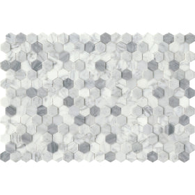 "Emser Tile - Link Marble Groutless Mosaic - White 1"" Hex"