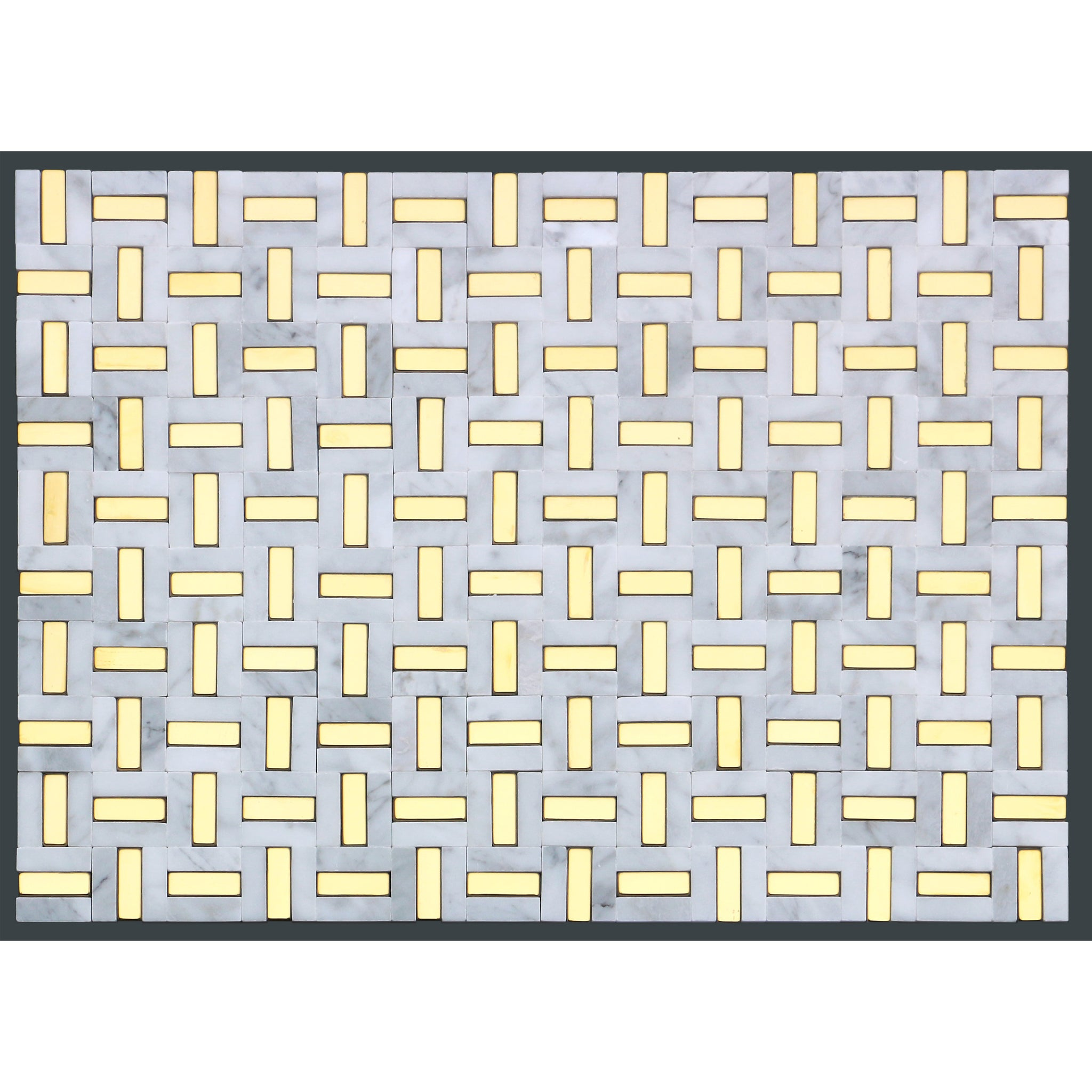 emser tile link marble groutless mosaic white and gold