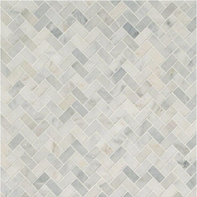 MSI - Arabescato Carrara - Herringbone Pattern Marble Mosaic - Honed - Variation