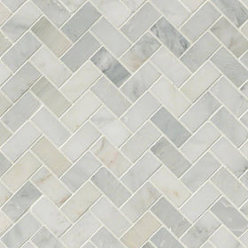 MSI - Arabescato Carrara - Herringbone Pattern Marble Mosaic - Honed