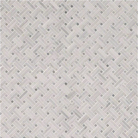 MSI - Carrara White Basketweave Pattern Mosaic - Polished - Variation