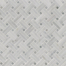 MSI - Carrara White Basketweave Pattern Mosaic - Polished