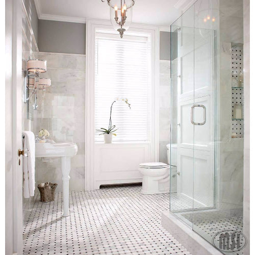 "MSI - Greecian White 2"" Octagon Mosaic with Black 5/8 in. x 5/8 in. Accents - Polished - Variation"