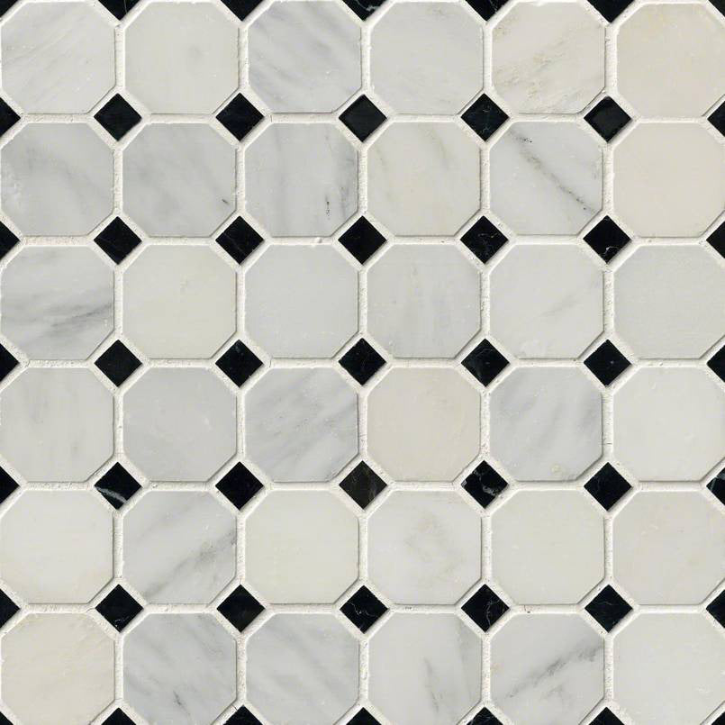 "MSI - Greecian White 2"" Octagon Mosaic with Black 5/8 in. x 5/8 in. Accents - Polished"