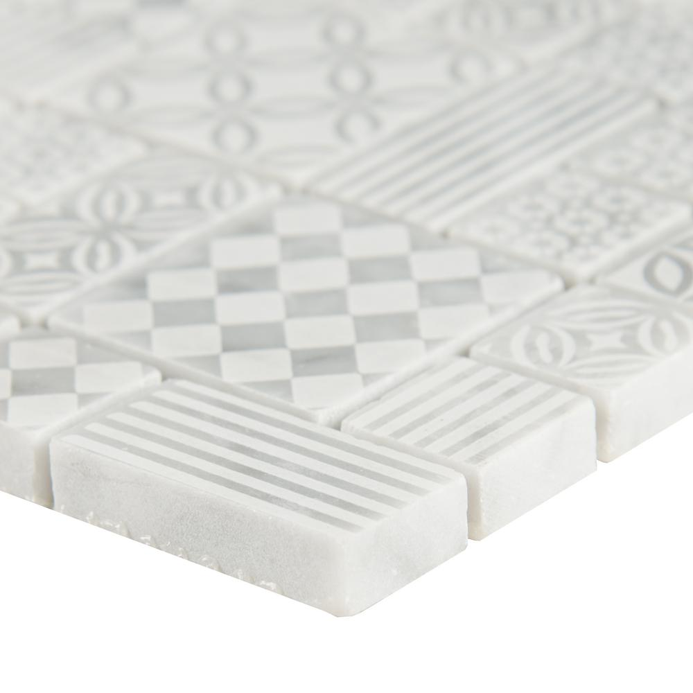 MSI - Tetris Blanco 10mm Honed Marble Mosaic Tile Close View