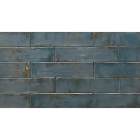Tesoro Decorative Collection - Grunge Ceramic 3 in. x. 12 in. Wall Tile - Blue