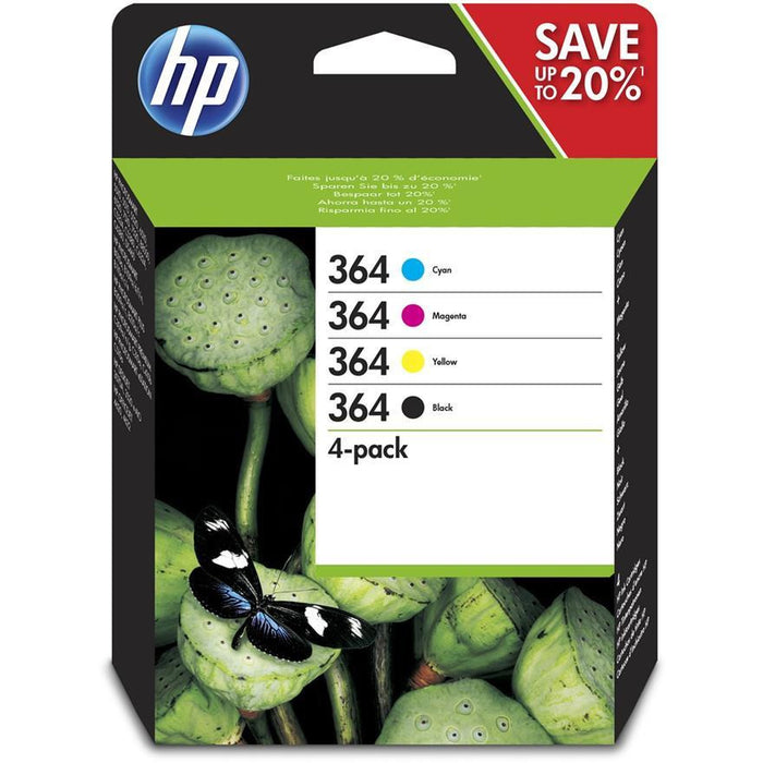 HP 364 (Yield: 250 Black/300 Colour Pages) Black/Cyan/Magenta/Yellow Ink Cartridge Pack of 4