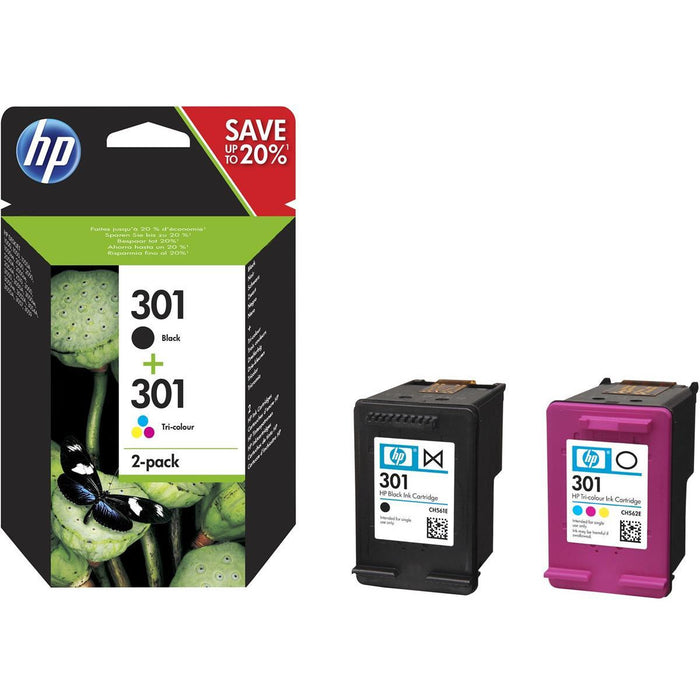 HP N9J72AE 301 2 Pack svart Tri lita Cartridge