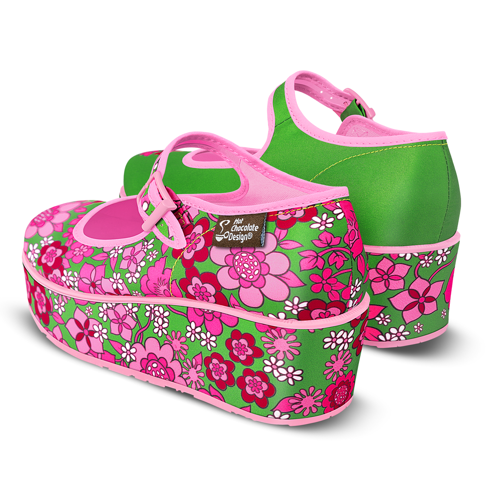 Chocolaticas® Pink Flowers Women's Mary Jane Platform