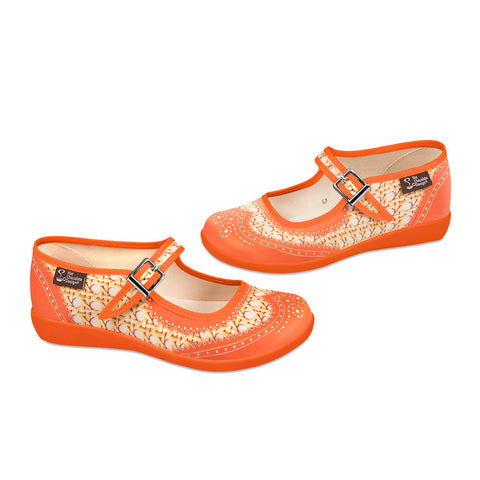 Chocolaticas® Havana Rattan Orange Women's Mary Jane Flat