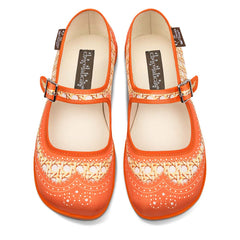 Chocolaticas® Habana Rattan Orange Women's Mary Jane Flat
