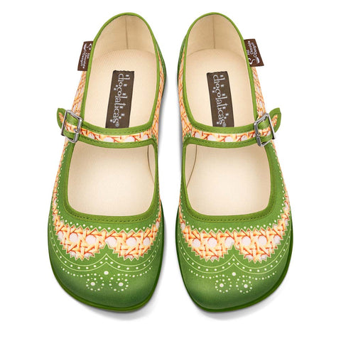 Chocolaticas® Habana Rattan Green Women's Mary Jane Flat