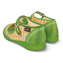 Chocolaticas® Havana Rattan Green Women's Mary Jane Flat