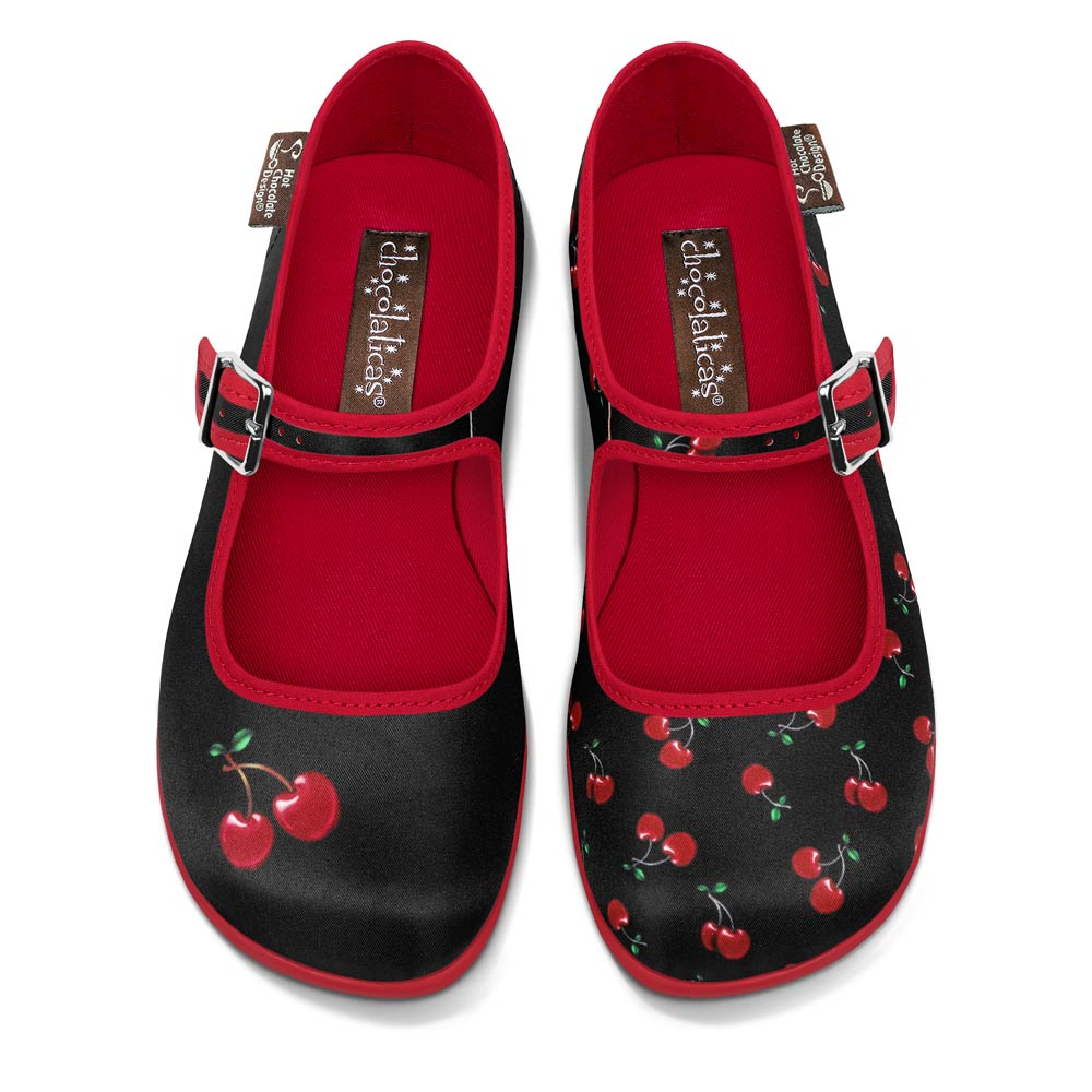 Chocolaticas® Cherry Black Women's Mary Jane Flat