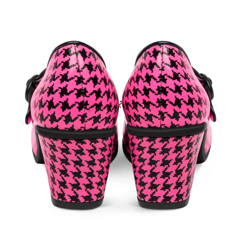 Chocolaticas® Mid Heels Pop Hounds Tooth Pink Women's Mary Jane Pump