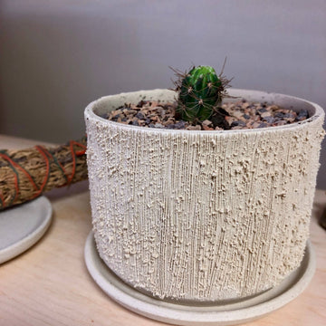mini relief low planter in light stoneware