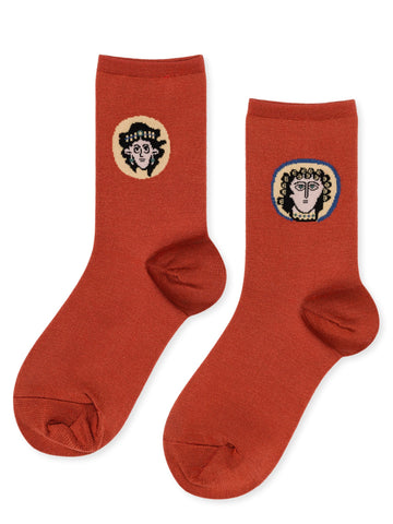 Portrait of a Lady and a Man Crew Socks