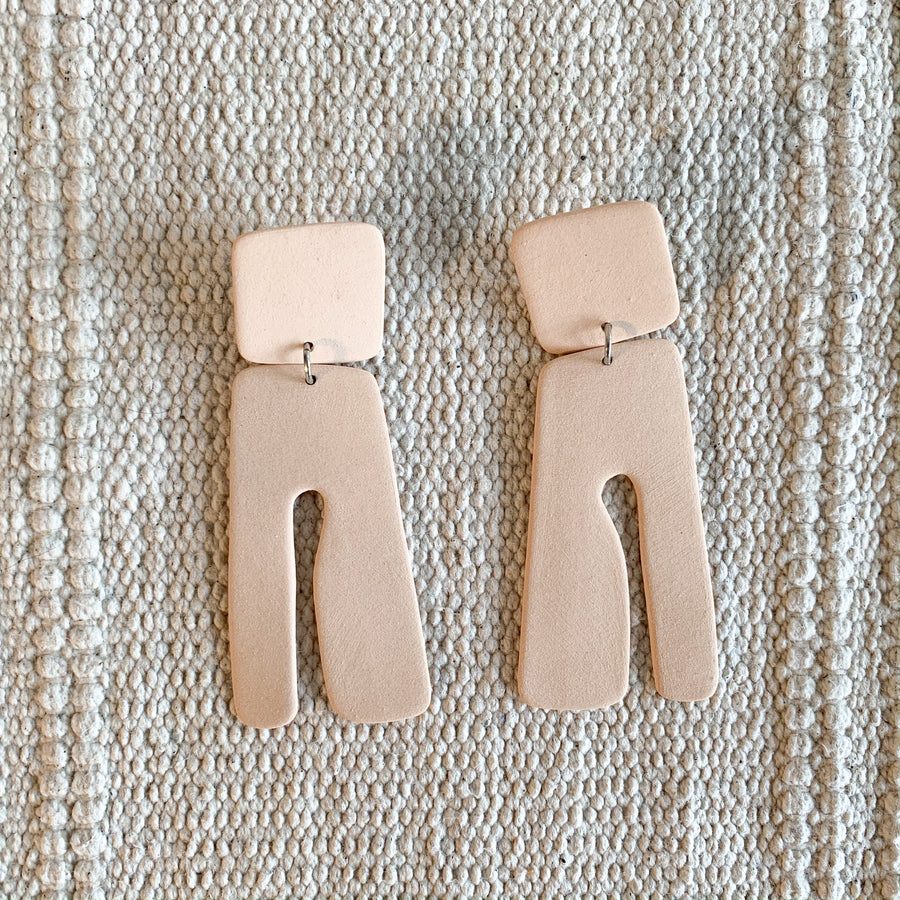 Tassel Ceramic Earrings in Peach