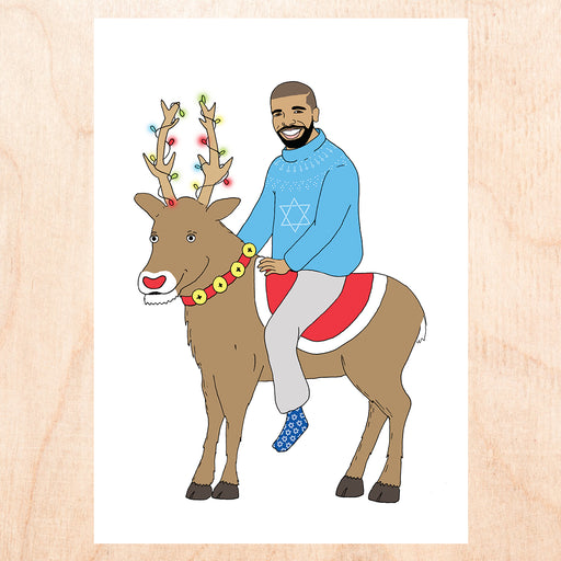Drake on a Reindeer Card