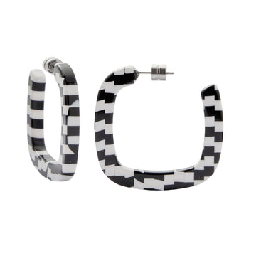 Midi Square Hoops in Bizarre Checker