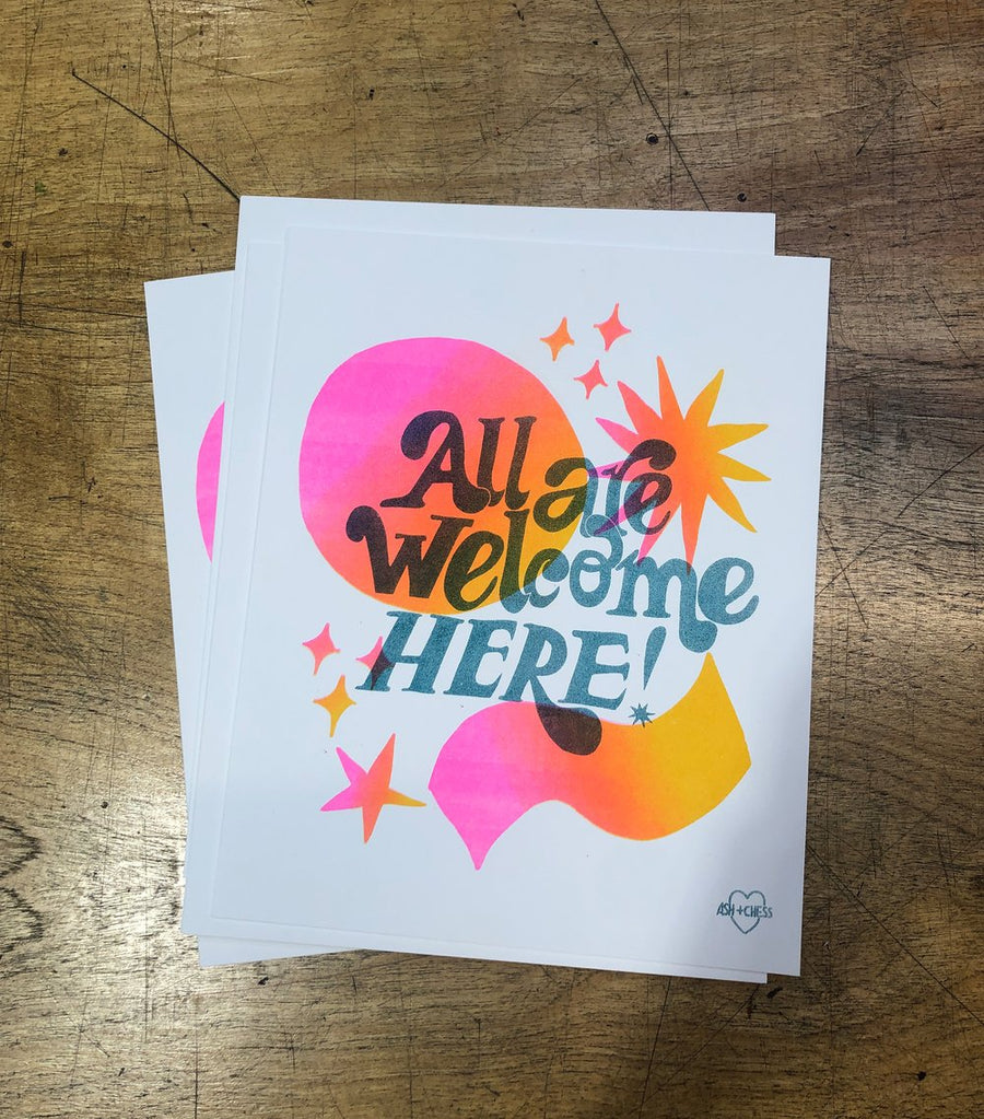 All Are Welcome Here Risograph Art Print