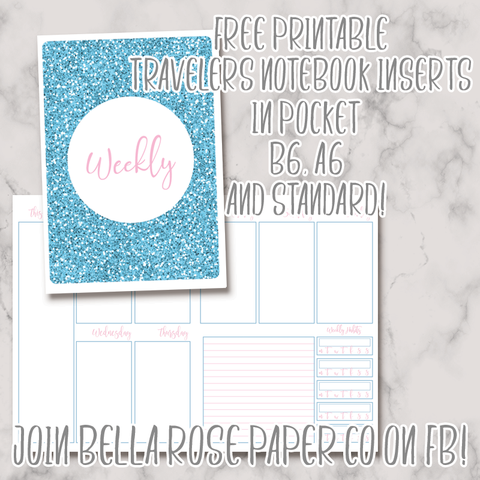 photograph relating to Free Printable Traveler's Notebook Inserts identified as No cost Printable TN Inserts Bella Rose Paper Co