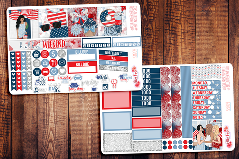 4th Of July Mini Happy Planner Sticker Kit SM204