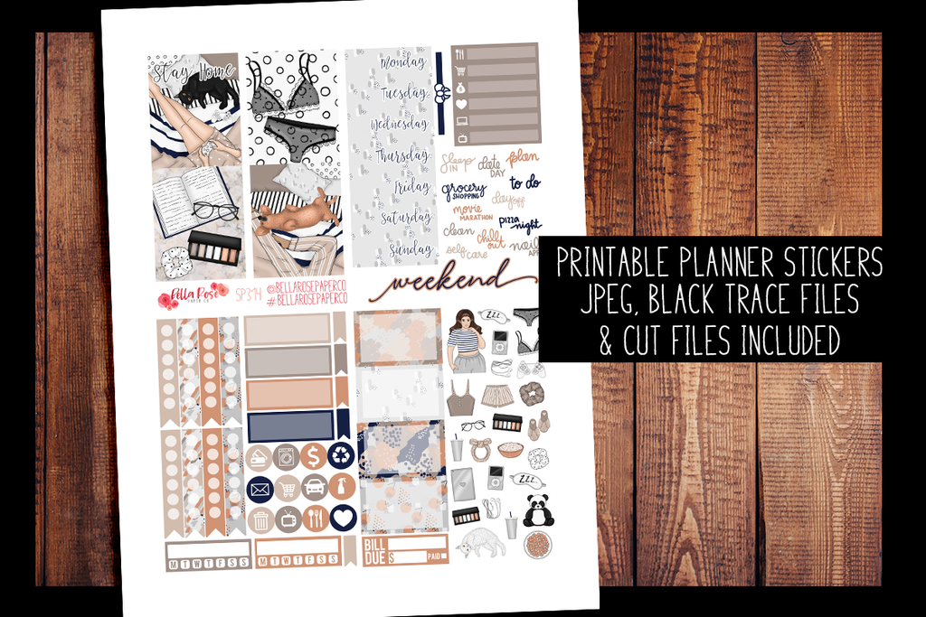 Let's Stay Home Mini Planner Kit | PRINTABLE PLANNER STICKERS