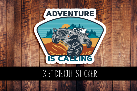 Adventure Is Calling Jeep Diecut Sticker